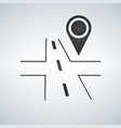 3d road with map pin on white background vector image