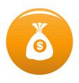 bag money icon orange vector image