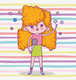beauty girl with hairstyle and singing music vector image