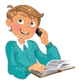 Blond boy in blue sweater and phone and book vector image
