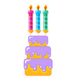 cake for birthday and holiday dessert with vector image vector image