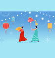 chinese lunar new year dance characters parade vector image vector image