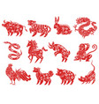 chinese zodiac animals astrological signs vector image