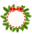 Christmas frame with red bow and fir tree branches vector image vector image