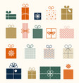 christmas set gifts in flat style isolated vector image vector image