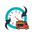 clock with arrow and fast food truck icon vector image vector image