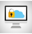 computer protection cloud icon design vector image