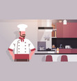Cook in kitchen chef professional restaurant vector image