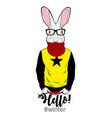 cool hare in scarf vector image