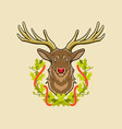 deer and christmas wreath vector image vector image