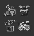 delivery chalk icons set shipping vector image vector image