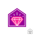 diamond house logo thin line style jewelry shop vector image