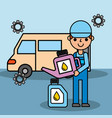 employee car repair maintenance oil container vector image vector image