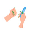 female hands with green manicure and nail file vector image vector image