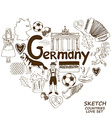 German symbols in heart shape concept vector image vector image