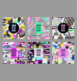 glitch futuristic posters covers set hipster vector image vector image