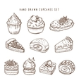 Hand drawn set of cupcakes and bakery products vector image vector image