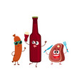 happy beer bottle meat steak frankfurter sausage vector image vector image