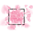 happy valentines day black square frame with pink vector image