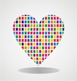 heart with colorful brick texture vector image