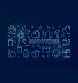 i love smoothies blue outline horizontal vector image