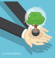 isometric businessman hands holding eco friendly vector image vector image