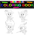 kitten musketeer with sword coloring book vector image