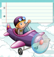 Line paper design with boy on airplane vector image
