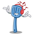 listening music spatula character cartoon style vector image vector image