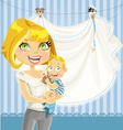 mom with baby boy blue openwork announcement card vector image vector image