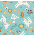 pattern with cute rabbits vector image vector image
