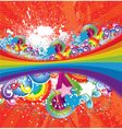 rainbow with floral vector image vector image