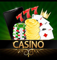 realistic mobile phone and coin chips for casino vector image vector image