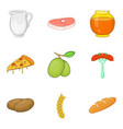 sandwich roll icons set cartoon style vector image vector image