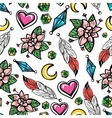 Seamless pattern with flowers and feathers vector image vector image