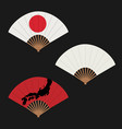 set hand fans decorative fans isolated on vector image
