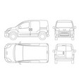 small van car in lines isolated car template for vector image
