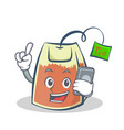 tea bag character cartoon with phone vector image vector image