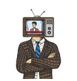 tv head man color sketch engraving vector image vector image
