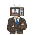 tv head man color sketch engraving vector image