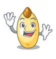 waving character brown cedar nut fruit on plate vector image
