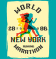 world marathon series retro poster vector image vector image