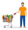 young man pushing supermarket vector image vector image