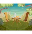 breakfast in the garden cartoon vector image
