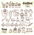 Hand draw coffee and tea collection Sketch doodles vector image