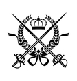 Heraldic design with a wreath swords and crown vector image