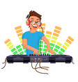 professional dj playing disco house music vector image