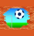 ball and broken wall vector image vector image
