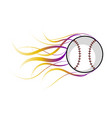 baseball ball with a fire effect vector image
