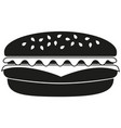 black and white burger silhouette vector image vector image